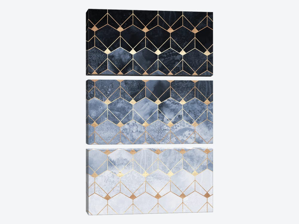 Blue Hexagons And Diamonds by Elisabeth Fredriksson 3-piece Canvas Art Print