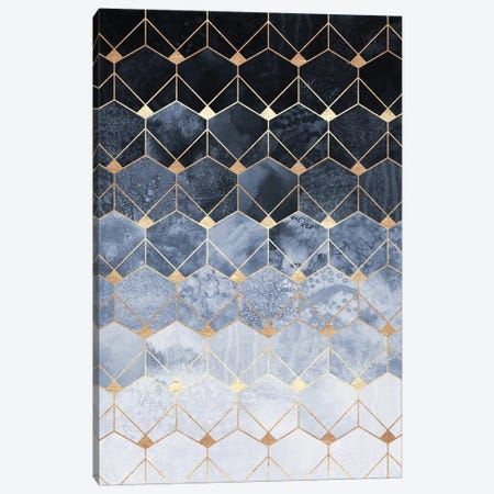 Blue Hexagons And Diamonds Canvas Print #ELF230} by Elisabeth Fredriksson Canvas Art