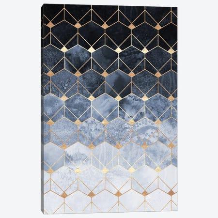 Blue Hexagons And Diamonds Canvas Print #ELF230} by Elisabeth Fredriksson Canvas Art