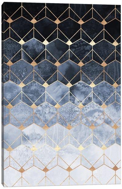 Blue Hexagons And Diamonds Canvas Art Print