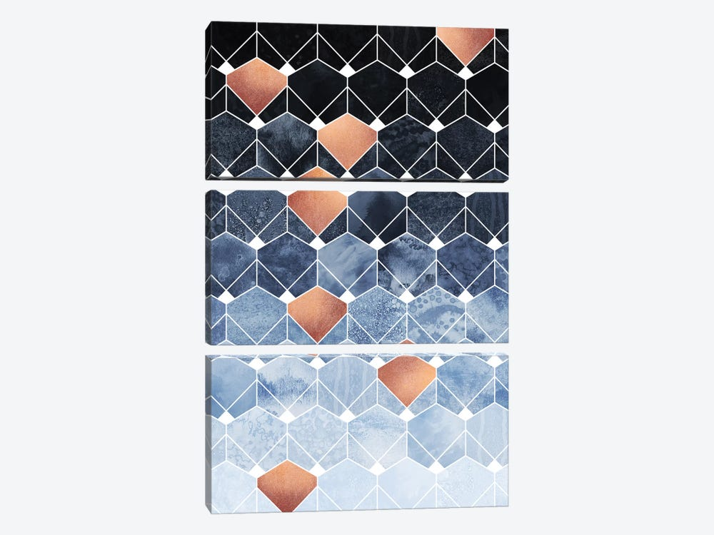 Copper Diamonds, Rectangular by Elisabeth Fredriksson 3-piece Canvas Print