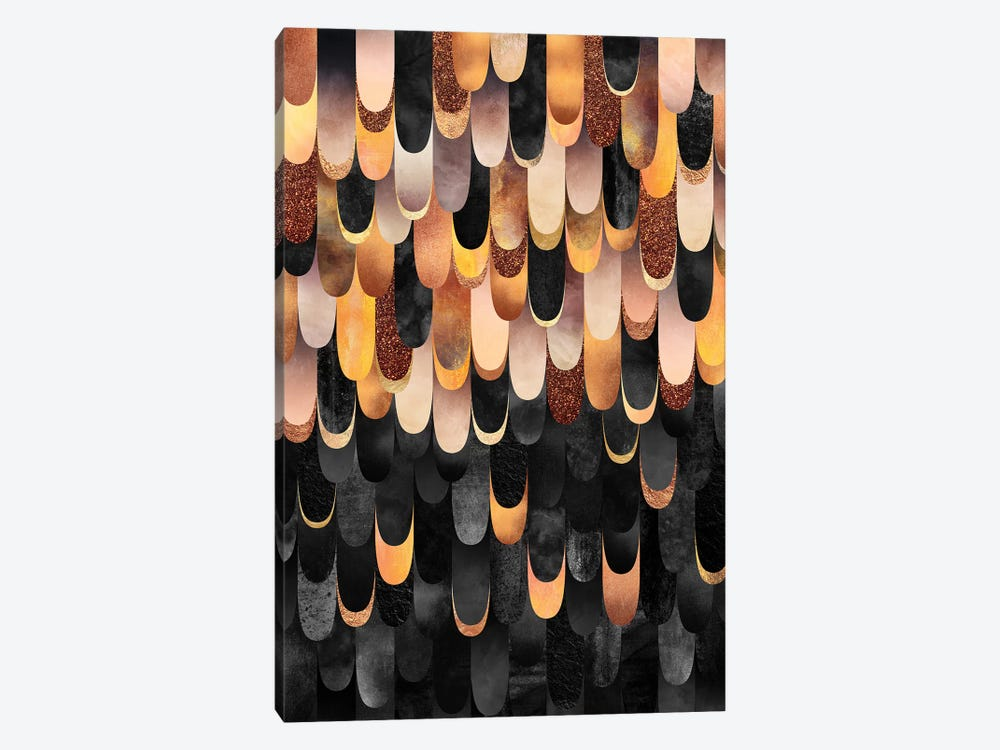 Feathered - Copper & Black by Elisabeth Fredriksson 1-piece Canvas Art Print