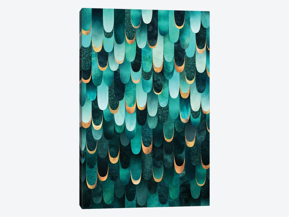 Feathered - Turquoise by Elisabeth Fredriksson 1-piece Canvas Art