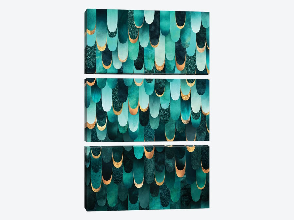Feathered - Turquoise by Elisabeth Fredriksson 3-piece Canvas Art