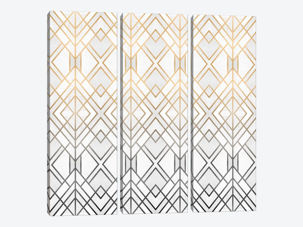 Gold And Grey Geo 3-piece Canvas Wall Art