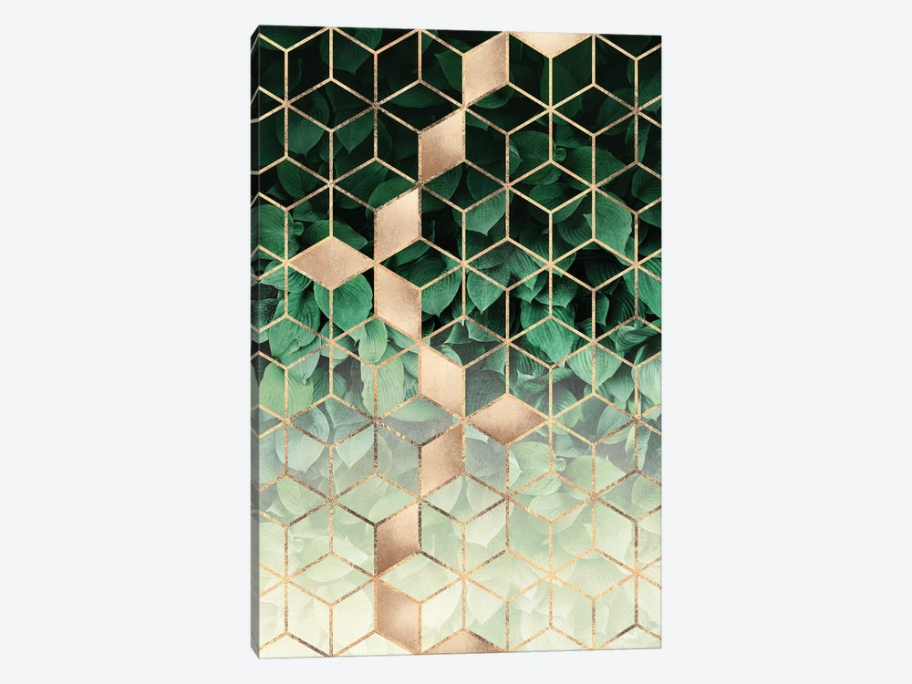 Leaves And Cubes I by Elisabeth Fredriksson 1-piece Canvas Wall Art