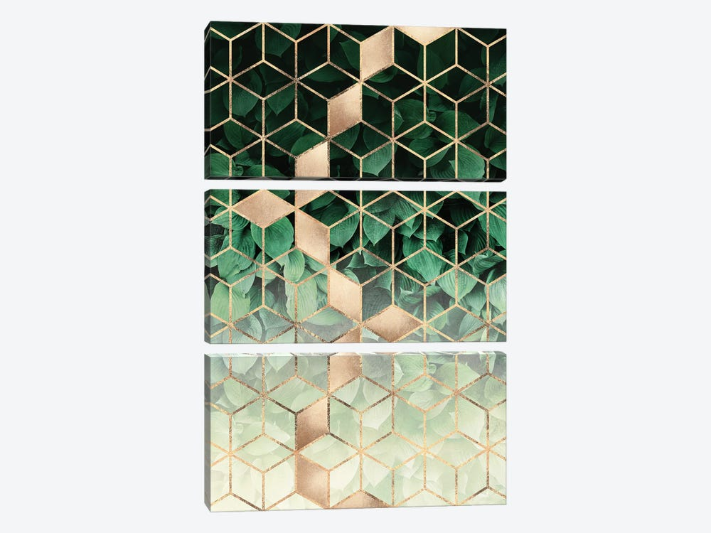 Leaves And Cubes I by Elisabeth Fredriksson 3-piece Canvas Wall Art