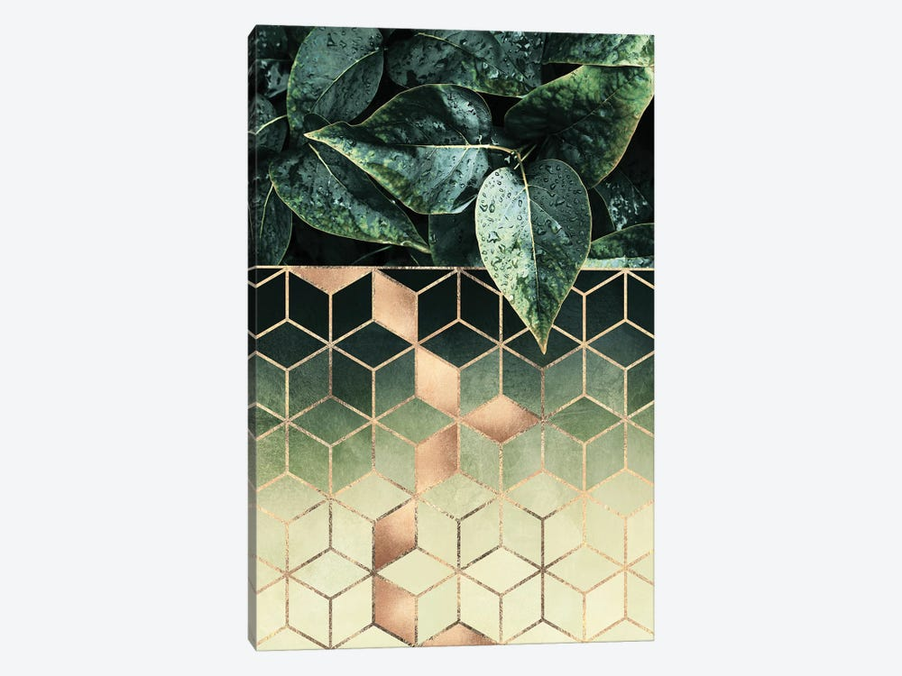 Leaves And Cubes II by Elisabeth Fredriksson 1-piece Canvas Print