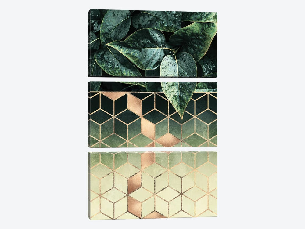 Leaves And Cubes II by Elisabeth Fredriksson 3-piece Art Print