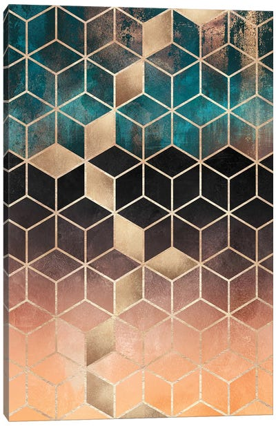 Ombre Dream Cubes, Rectangular Canvas Art Print