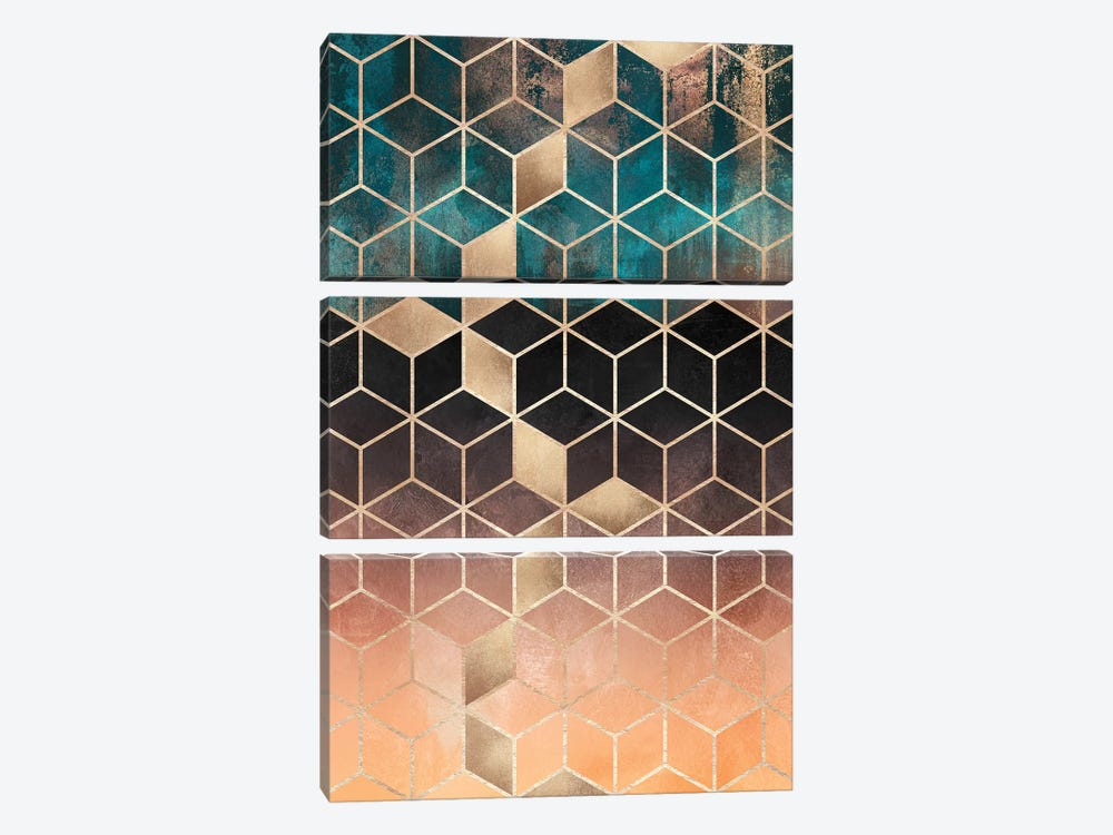Ombre Dream Cubes, Rectangular by Elisabeth Fredriksson 3-piece Canvas Print