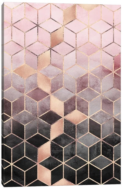 Pink & Grey Gradient Cubes, Rectangular Canvas Art Print