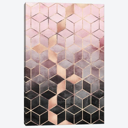 Pink & Grey Gradient Cubes, Rectangular Canvas Print #ELF244} by Elisabeth Fredriksson Canvas Art