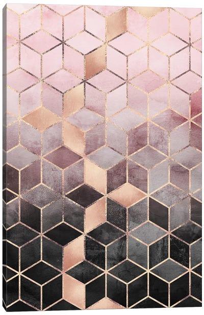 Pink & Grey Gradient Cubes, Rectangular Canvas Art Print