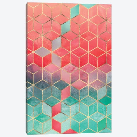 Rose & Turquoise Cubes, Rectangular Canvas Print #ELF248} by Elisabeth Fredriksson Canvas Art Print