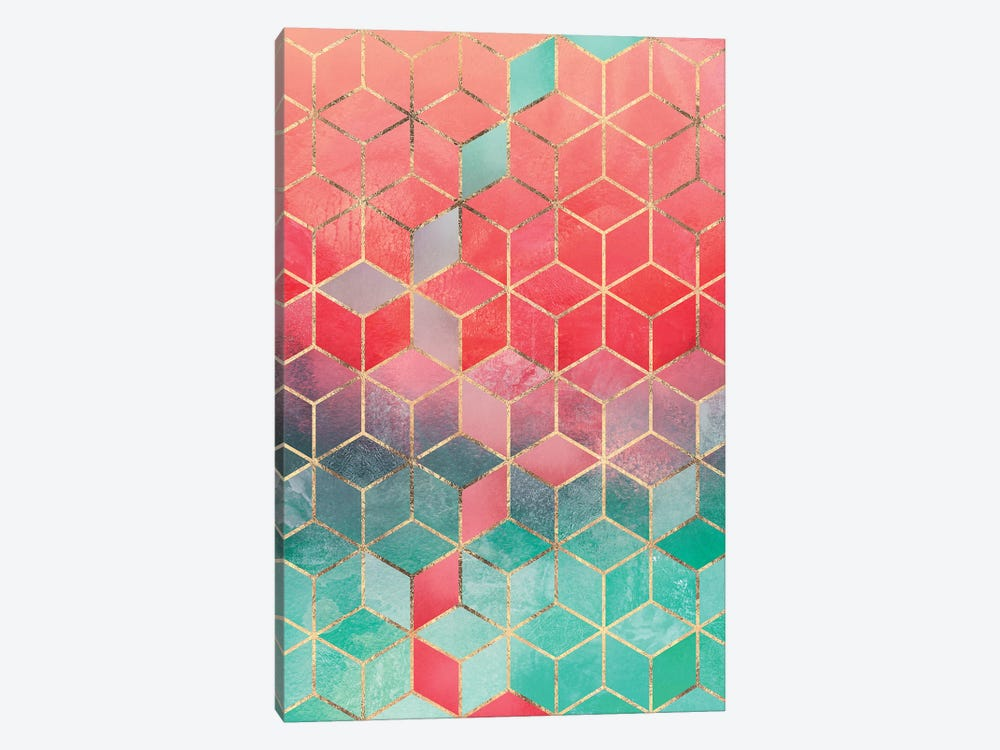 Rose & Turquoise Cubes, Rectangular by Elisabeth Fredriksson 1-piece Canvas Artwork