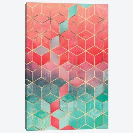 Rose & Turquoise Cubes, Rectangular Canvas Print #ELF248} by Elisabeth Fredriksson Canvas Art Print