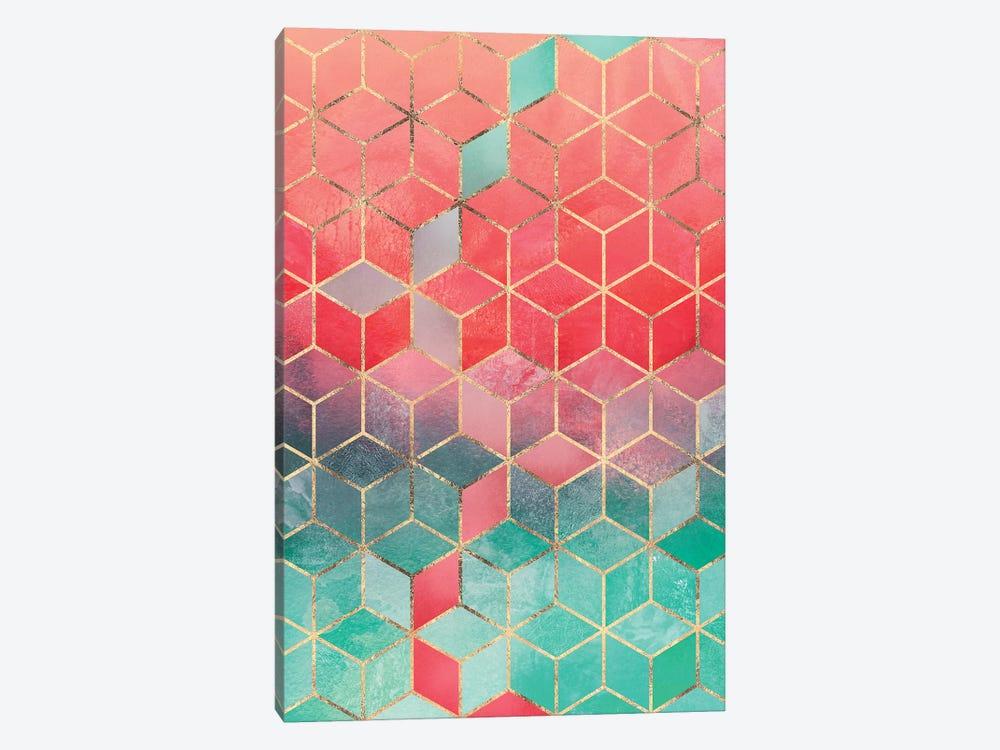 Rose & Turquoise Cubes, Rectangular by Elisabeth Fredriksson 1-piece Canvas Artwork