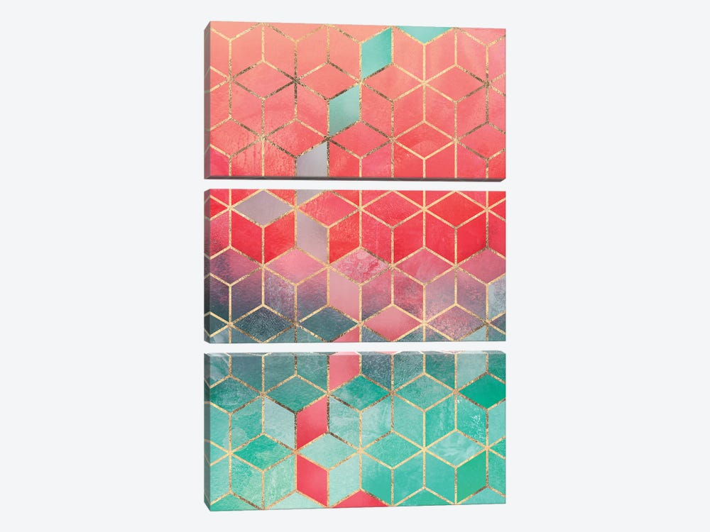 Rose & Turquoise Cubes, Rectangular by Elisabeth Fredriksson 3-piece Canvas Wall Art