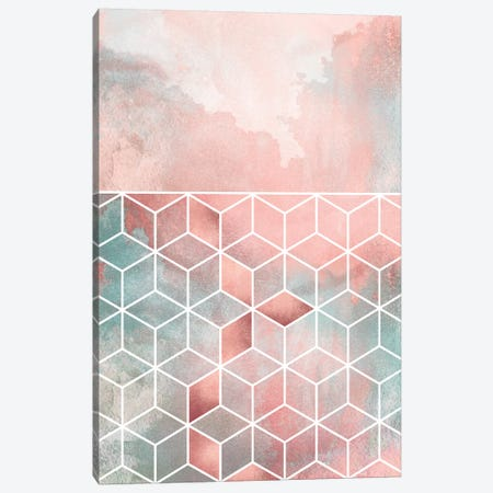 Rose Clouds And Cubes Canvas Print #ELF249} by Elisabeth Fredriksson Art Print