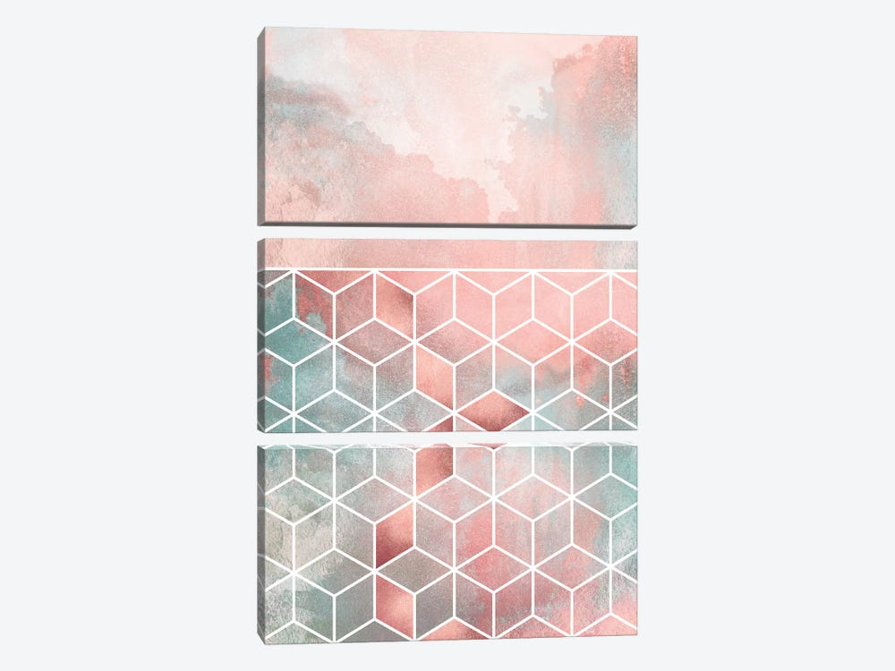Rose Clouds And Cubes by Elisabeth Fredriksson 3-piece Canvas Print