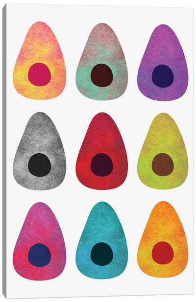 Colored Avocados Canvas Art Print