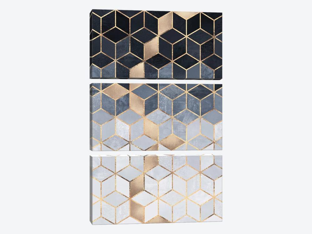 Soft Blue Gradient Cubes, Rectangular by Elisabeth Fredriksson 3-piece Canvas Art