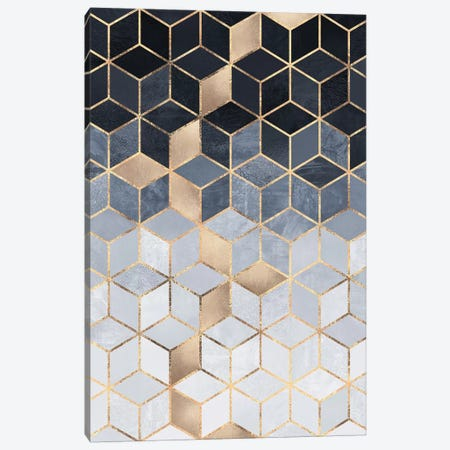 Soft Blue Gradient Cubes, Rectangular Canvas Print #ELF251} by Elisabeth Fredriksson Canvas Artwork
