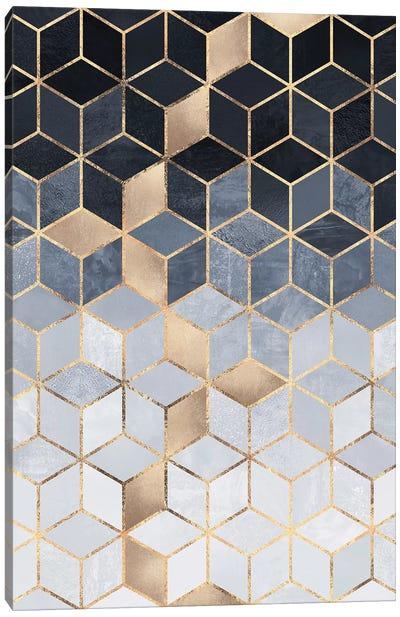 Soft Blue Gradient Cubes, Rectangular Canvas Art Print