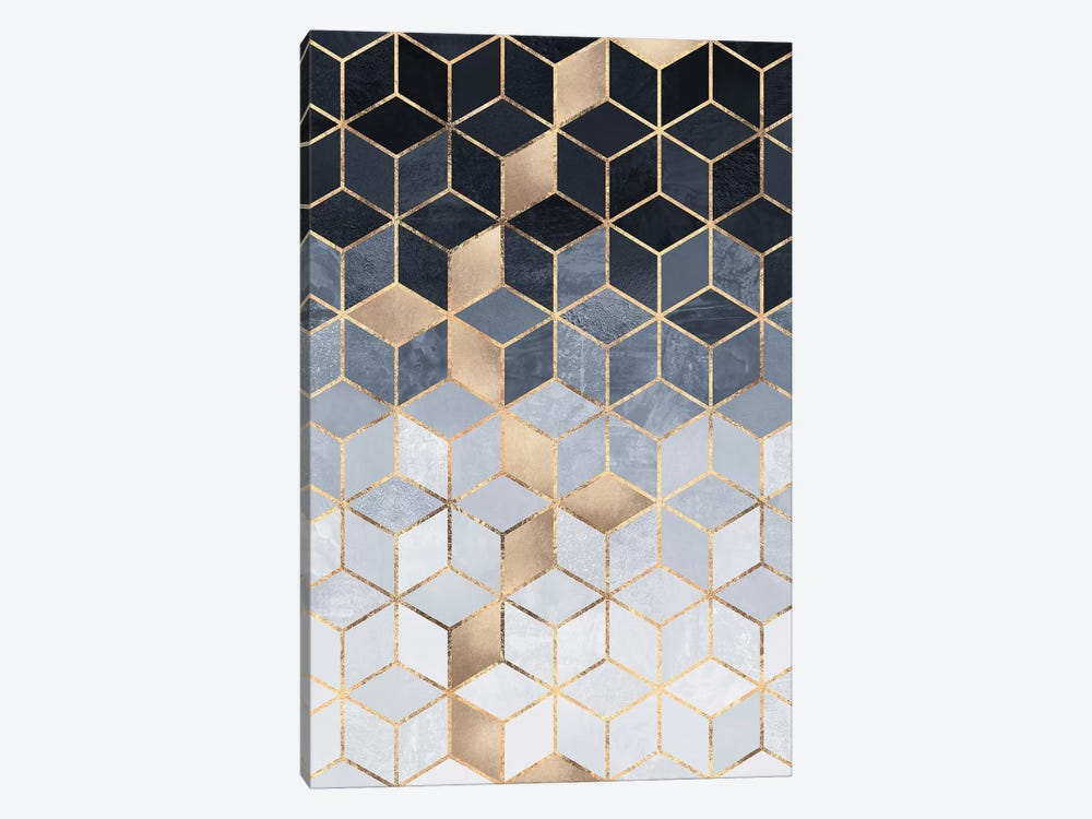 Soft Blue Gradient Cubes, Rectangular by Elisabeth Fredriksson 1-piece Canvas Wall Art