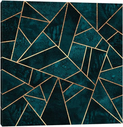 Deep Teal Stone Canvas Art Print
