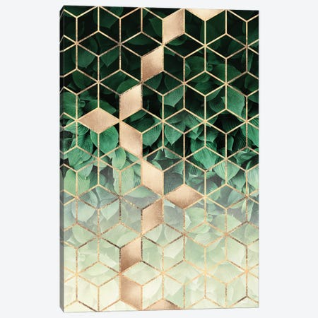 Leaves And Cubes Canvas Print #ELF257} by Elisabeth Fredriksson Canvas Art Print