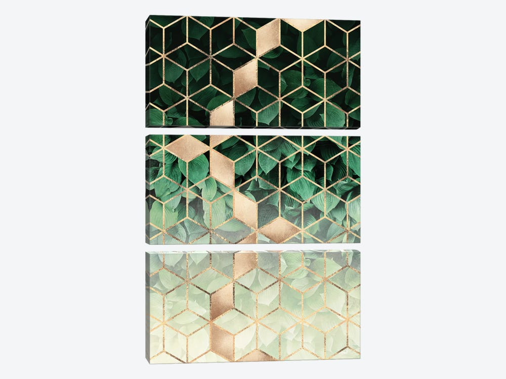Leaves And Cubes by Elisabeth Fredriksson 3-piece Canvas Artwork