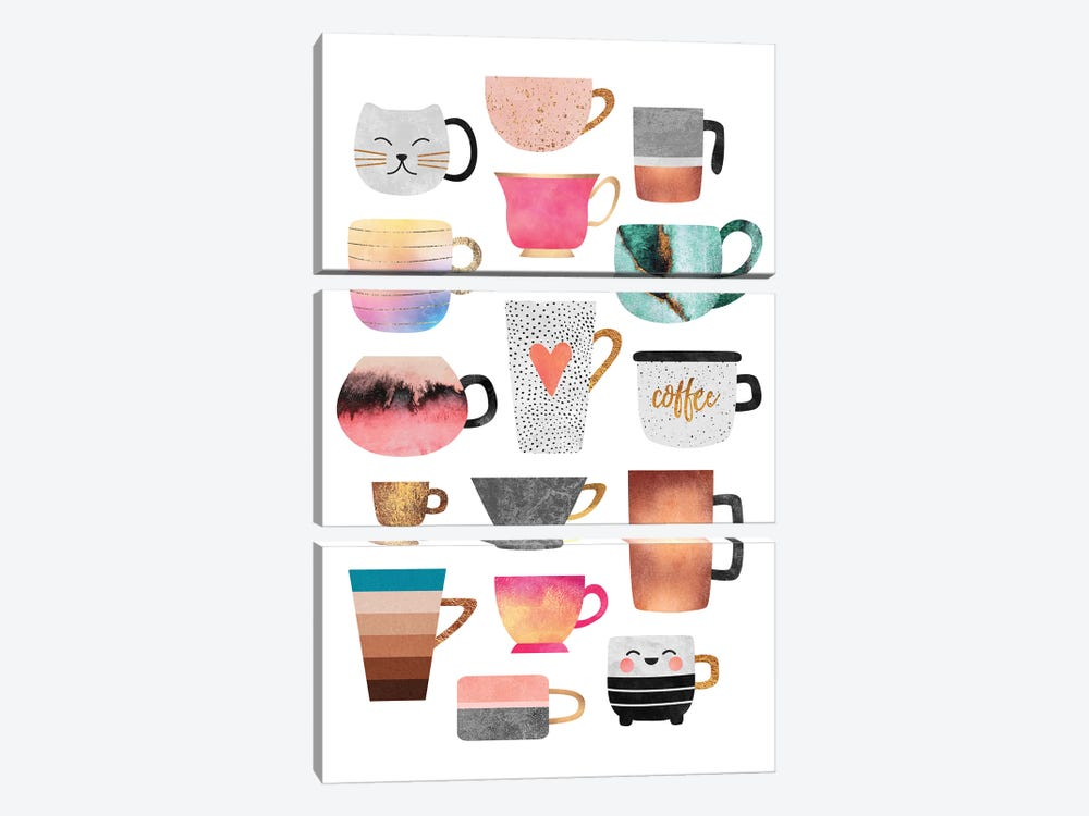 Coffee Cup Collection by Elisabeth Fredriksson 3-piece Canvas Art Print