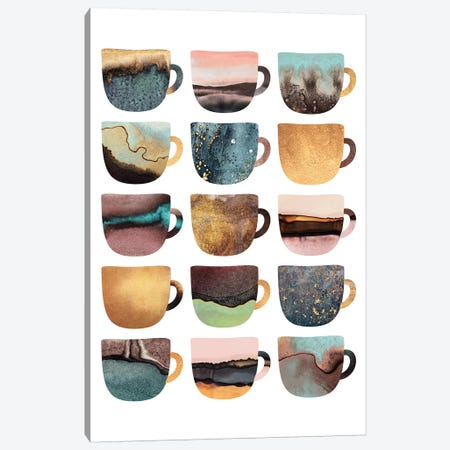 Earthy Coffee Cups Canvas Print #ELF264} by Elisabeth Fredriksson Canvas Art