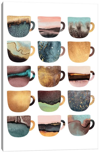 Earthy Coffee Cups Canvas Art Print