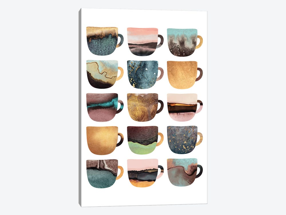 Earthy Coffee Cups by Elisabeth Fredriksson 1-piece Canvas Artwork