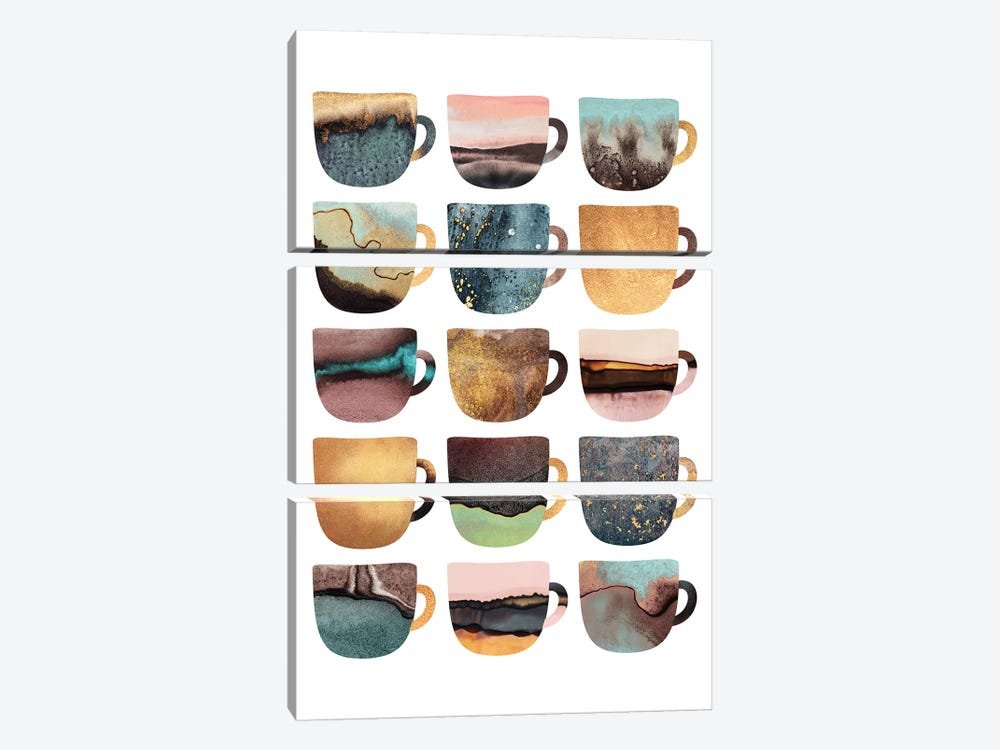 Earthy Coffee Cups by Elisabeth Fredriksson 3-piece Canvas Artwork