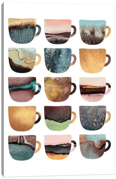 Earthy Coffee Cups Canvas Art Print
