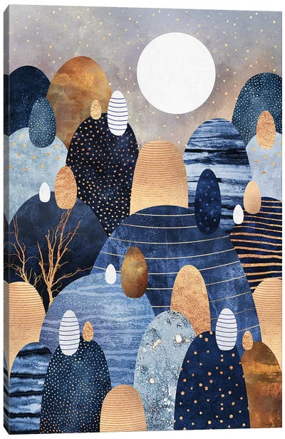 Little Land Of Pebbles, Blue Canvas Art Print