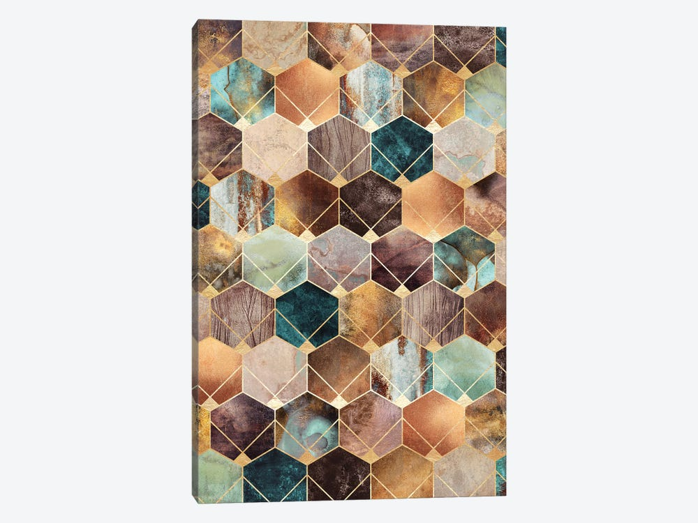 Natural Hexagons And Diamonds by Elisabeth Fredriksson 1-piece Canvas Wall Art