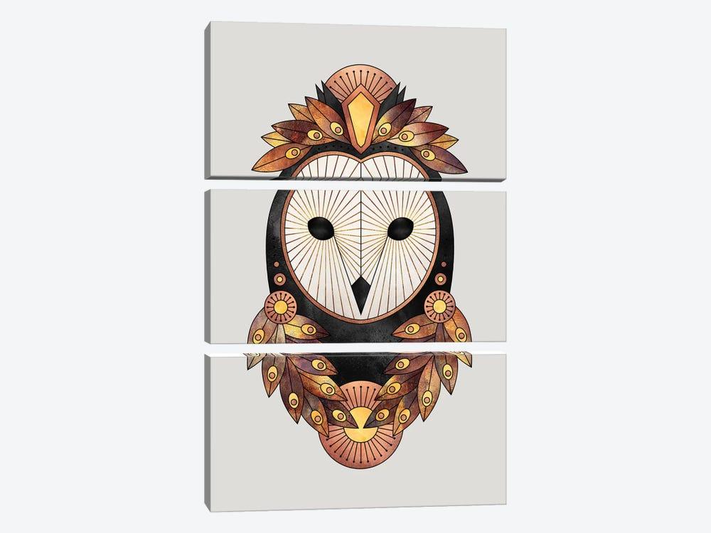 Owl II by Elisabeth Fredriksson 3-piece Canvas Wall Art
