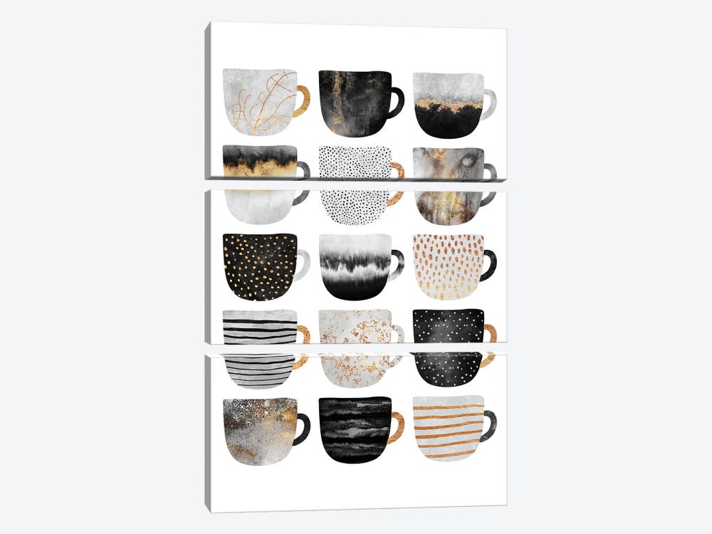 Pretty Coffee Cups III by Elisabeth Fredriksson 3-piece Canvas Print