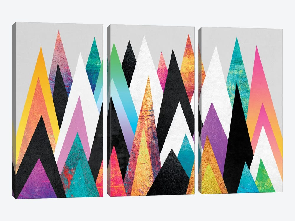 Colorful Peaks by Elisabeth Fredriksson 3-piece Canvas Wall Art