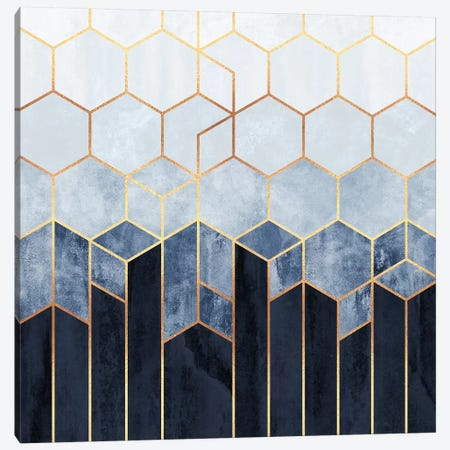 Soft Blue Hexagons Canvas Print #ELF288} by Elisabeth Fredriksson Canvas Art Print