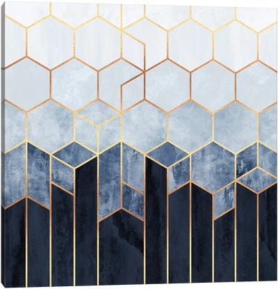 Soft Blue Hexagons Canvas Art Print
