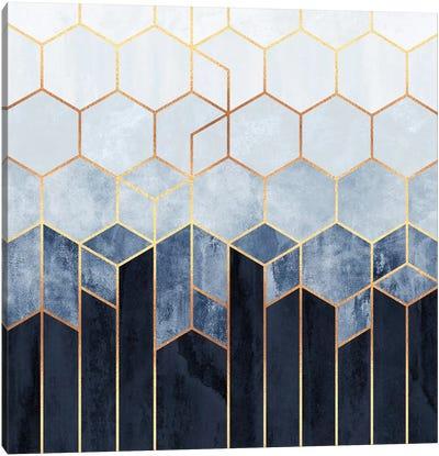 Soft Blue Hexagons Canvas Art Print