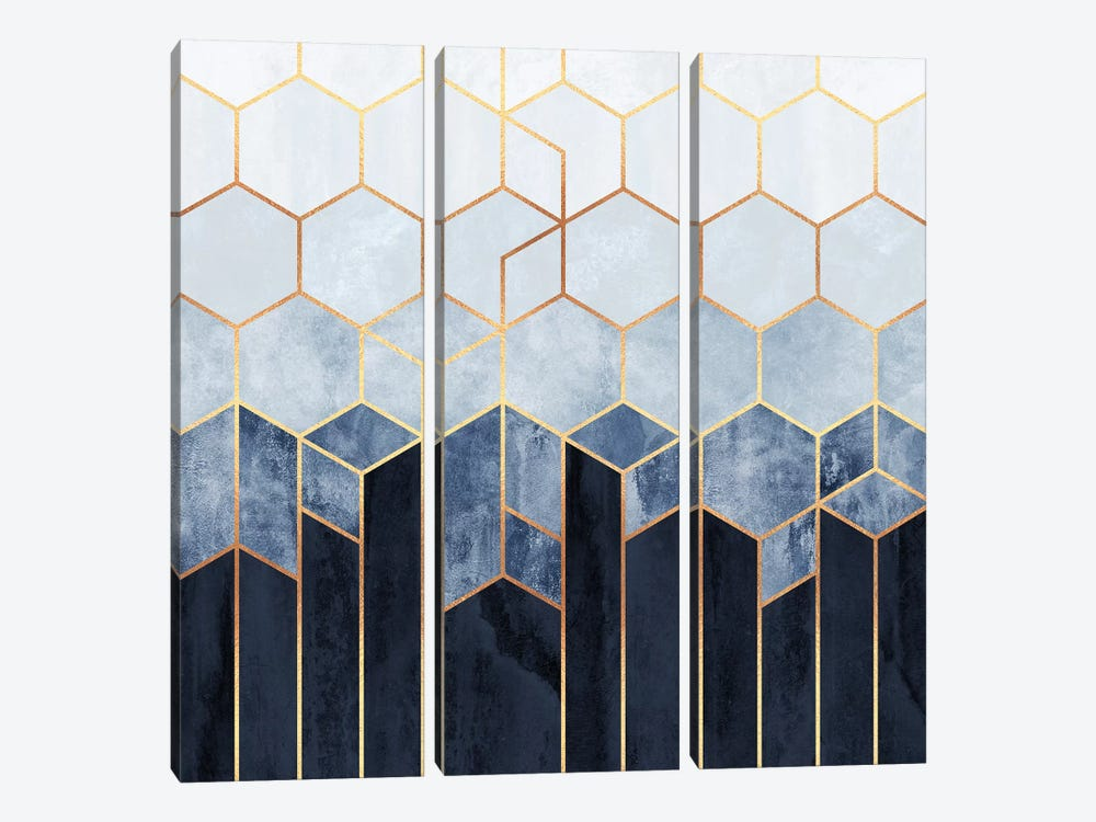 Soft Blue Hexagons by Elisabeth Fredriksson 3-piece Canvas Artwork