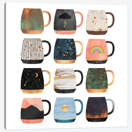 Coffee Cup Collection II Canvas Print #ELF290} by Elisabeth Fredriksson Canvas Artwork