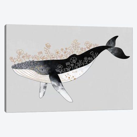 Floral Whale Canvas Print #ELF291} by Elisabeth Fredriksson Canvas Artwork